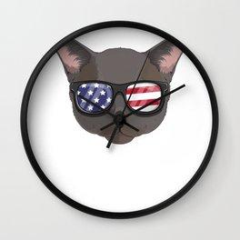 Patriotic Burmese Cat Kitty Merica American Flag Wall Clock