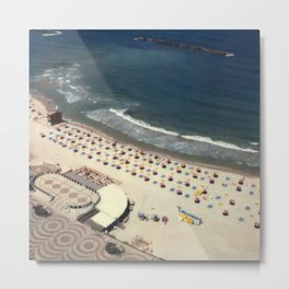 Tel-Aviv beach at summer, high from above, Israel, scaned sx-70 Polaroid Metal Print