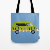1975 Tote Bags featuring Death Race 2000 Alligator Van by Brandon Ortwein