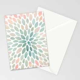 Floral Bloom, Abstract Watercolor, Coral, Peach, Green, Floral Prints Stationery Cards
