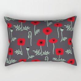 Red poppy flower pattern Rectangular Pillow