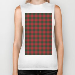 90's Buffalo Check Plaid in Christmas Red and Green Biker Tank