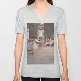 Ballet Rehearsal 1873 By Edgar Degas Reproduction by the Famous French Painter Dance Class Scene Unisex V-Neck