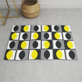 Geometric Pattern 216 (yellow gray curves) Rug
