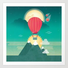 Sun, Moon & Balloon Art Print