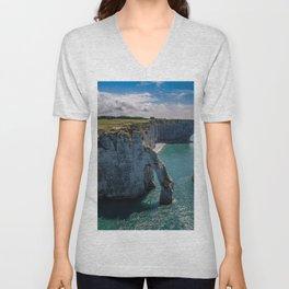Etretat coast Normandy cliffs English Channel arch France Unisex V-Neck