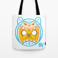 finn and jake Tote Bags featuring Finn & Jake by Miguel Manrique