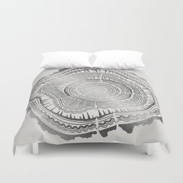 Growth Rings – 65 Years – Silver Duvet Cover