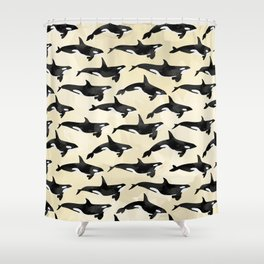 Pod of Orcas in Puget Shower Curtain