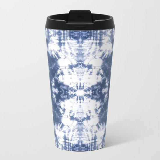 Shibori 6 Indigo Blue Metal Travel Mug