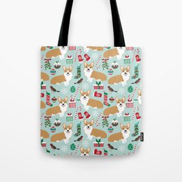 Welsh Corgi christmas holiday fabric festive pattern print by pet friendly dog breeds Tote Bag