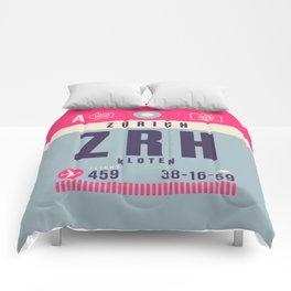Retro Airline Luggage Tag - ZRH Zurich Switzerland Comforters