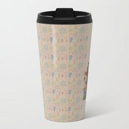 Handdrawn Cuckoo on Beige Clocks Travel Mug