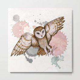 Attacking barn owl watercolor Metal Print