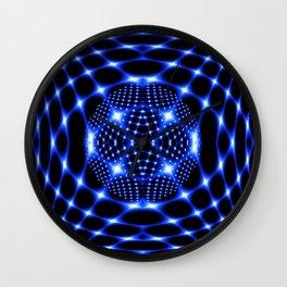 Neon blue glob fractal Wall Clock