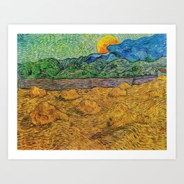 Evening Landscape with Rising Moon by Vincent Van Gogh Art Print