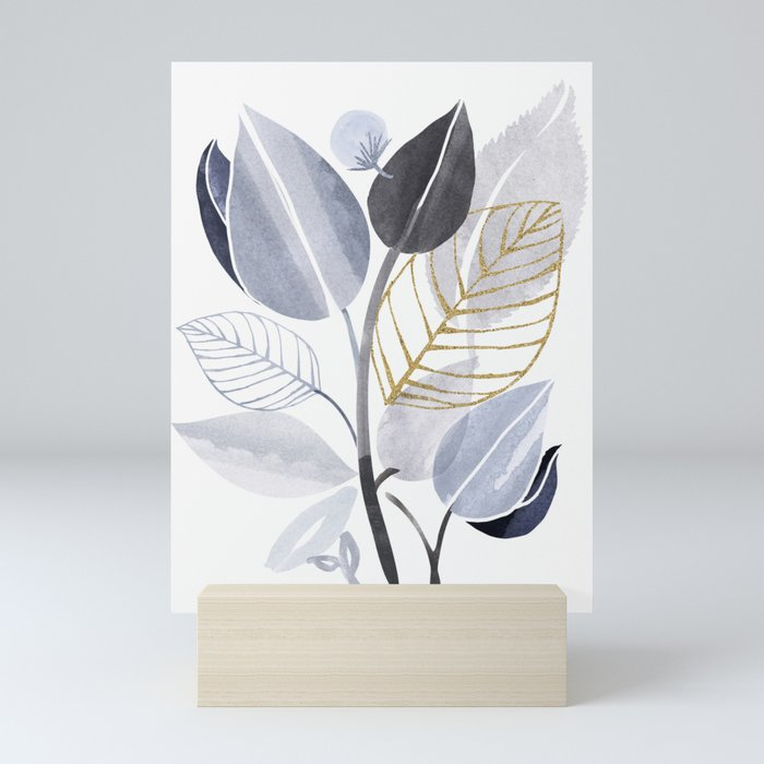 Leaf Party - Watercolor Nature Collage Mini Art Print