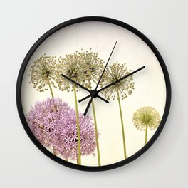 Tall Green Allium Plants and Pink Star Flowers Wall Clock