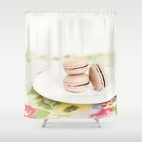 macaroons Shower Curtains featuring French Macaroons against Floral Pattern- Kitchen Art by Kim Lucian Photography