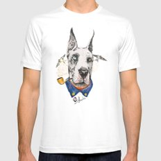 Mr. Great Dane MEDIUM White Mens Fitted Tee