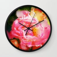 bible verse Wall Clocks featuring Roses - Verse by Anita Faye