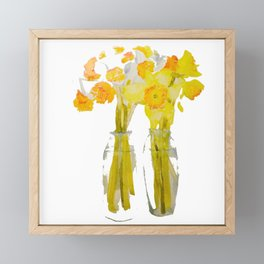 Daffodils watercolor Framed Mini Art Print