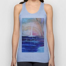 Flourescent Waterfall Painting. Waterfall, Abstract, Blue, Pink. Water. Jodilynpaintings. Unisex Tank Top