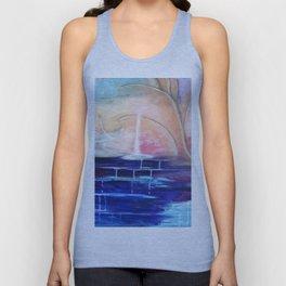 Flourescent Waterfall Painting. Waterfall, Abstract, Blue, Pink. Water. Jodilynpaintings. Unisex Tank Top