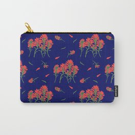 Lipstick Red Wildflowers on Indigo Carry-All Pouch