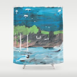 Five Parasols in the Sky Shower Curtain