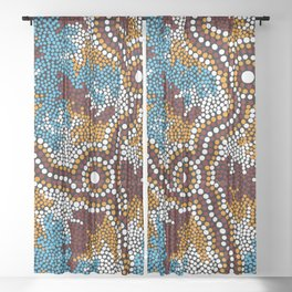 Authentic Aboriginal Art - Wetland Dreaming Sheer Curtain