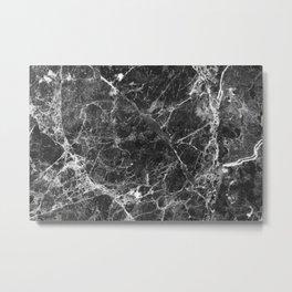 Black and White Marble Granite Metal Print
