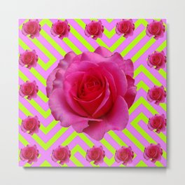 CONTEMPORARY CHARTREUSE PINK ROSES ABSTRACT GARDEN ART Metal Print
