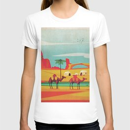 Desert Horizon - Kitschy Mid Century Style Watercolor Print with Camels  T-shirt