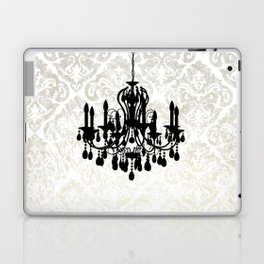 Chandelier Silhouette Metallic Damask Backdrop Laptop & iPad Skin