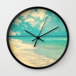 Waves of the sea (retro beach and blue sky) Wall Clock