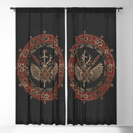 Gungnir - Spear of Odin Black and Red Leather and gold Blackout Curtain