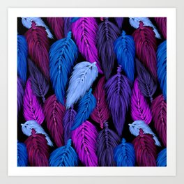 Watercolor Macrame Feather Toss in Black + Indigo Art Print