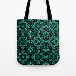 Retro . Black turquoise ornament . Tote Bag