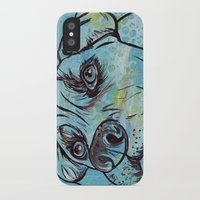 pit bull iPhone & iPod Cases featuring Blue Pit Bull Dog by WOOF Factory