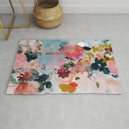 floral bloom abstract painting Rug