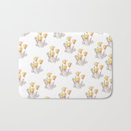 California Poppies, Watercolor Poppy Surface Pattern Design Bath Mat