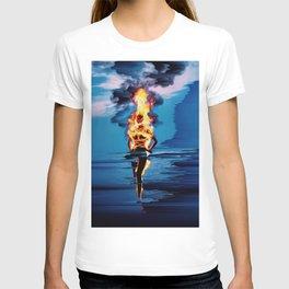 glitch art, sea, fire T-shirt