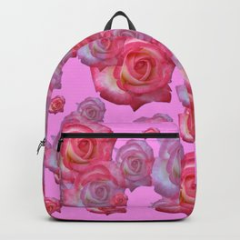COLLAGE  ARRANGEMENT OF PINK ROSES GARDEN ART Backpack
