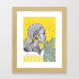 Yellow braided girl Framed Art Print
