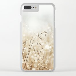 Dewdrop Nature Photography, Neutral Dew Drop, Gold White Brown Beige, Cream Water Drops Clear iPhone Case