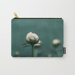 Pale Pink Peony on Teal Blue Green Carry-All Pouch