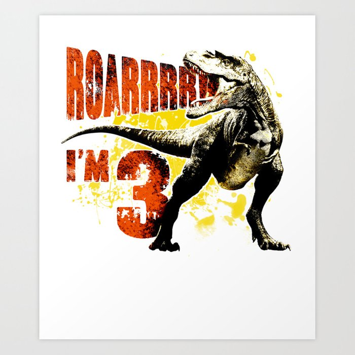 3rd Birthday Gift 3 Year Old Boys Dinosaurs Present Art Print