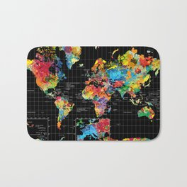 World Map Black - 1 Bath Mat