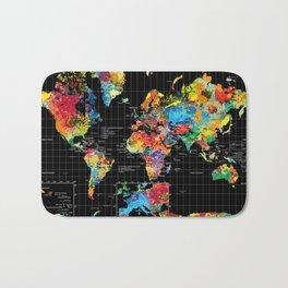 World Map Black - 1 Bath Mat